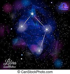 Libra Constellation With Triangular Background. - True star...