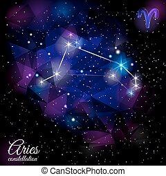 Aries Constellation With Triangular Background. - True star...