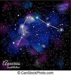 Aquarius Constellation With Triangular Background. - True...