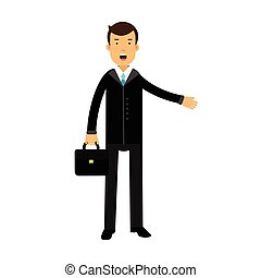 Businessman cartoon character in black suit standing with briefcase and talking vector Illustration
