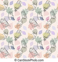 Cute seamless background with hand drawn owls