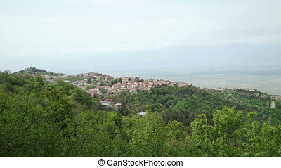 City Sighnaghi, Alazani Valley and Caucasus range - View of...