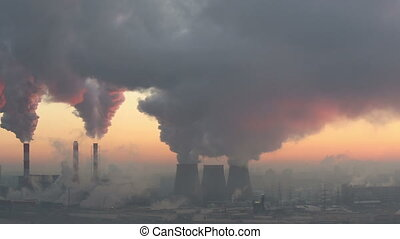 Polluting Factory at Dawn, time-lapse.