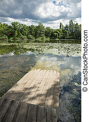 wooden gangway on the lake - Old wooden gangway on the lake