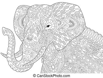 Zentangle stylized elephant - Coloring page of african or...