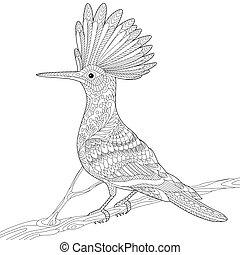 Zentangle stylized hoopoe - Coloring page of hoopoe bird....