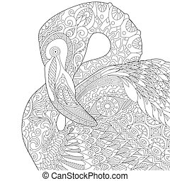 Zentangle stylized flamingo - Coloring page of flamingo...