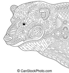 Zentangle stylized polar bear - Coloring page of polar bear....