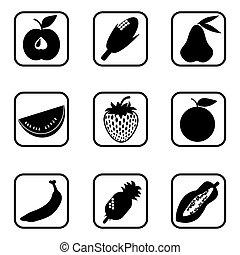 Fruit icons on white background.
