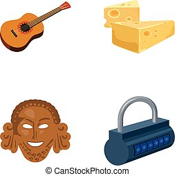Guitar, cheese and other web icon in cartoon...