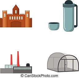 travel, oil refining and other web icon in cartoon...