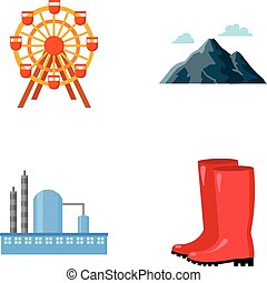 park, oil refinery and other web icon in cartoon...