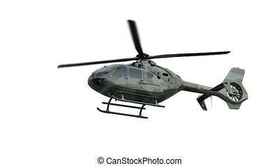 The military Eurocopter soars in the air and flies away....
