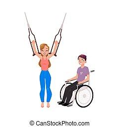 Medical rehabilitation, wheelchair, crutches