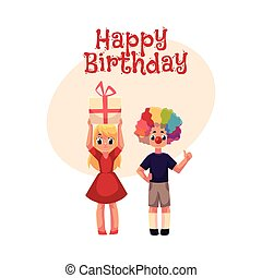 Boy with clown nose and wig, girl holding birthday gift