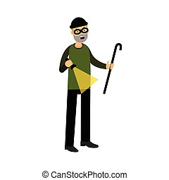 Professional masked burglar character with a crowbar and a flashlight vector Illustration