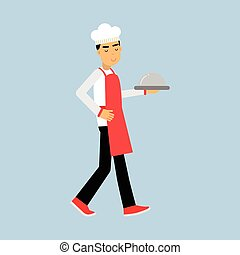 Male chef cook character in uniform walking with platter cloche vector Illustration