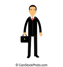 Smiling businessman character in black suit standing with briefcase vector Illustration