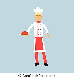Male chef cook character in uniform holding a cake on a plate vector Illustration