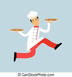Male chef cook character in uniform running with two plates of pizza vector Illustration