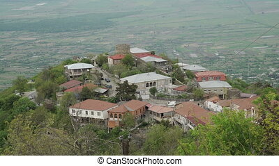 Aerial view of City Sighnaghi and Alazani Valley - View of...