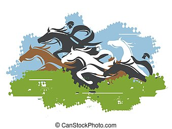 Horse Racing Jump Over Obstacle. - Colorful stylized...