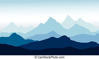 panoramic view of the mountain landscape with fog in the valley below with the alpenglow blue sky - vector
