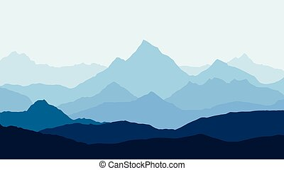 panoramic view of the mountain landscape with fog in the valley below with the alpenglow blue sky and rising sun - vector