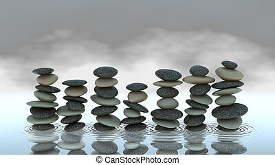 Group of Pebble stacks on water level