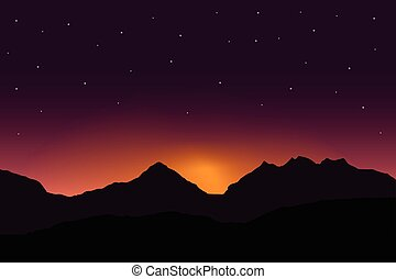 Vector panoramic illustration of sunrise over mountain landscape with dramatic purple sky with stars