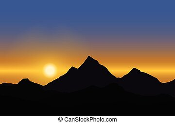 Panoramic view of the sunrise over the mountain landscape under blue sky - vector