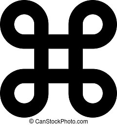 Bowen knot symbol for command key. Simple flat black illustration on white background