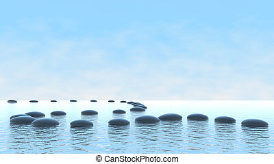 Harmony concept Pebble path on water - Harmony concept...