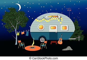 Camping overnight - Cartoon travelling night scene with a...
