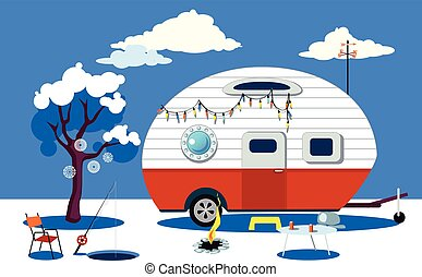 Ice fishing scene - Winter travelling scene with a vintage...