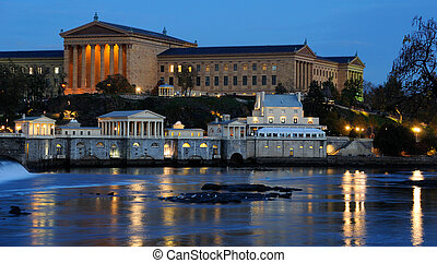 Philadelphia Art Museum and Fairmount Water Works at Dusk