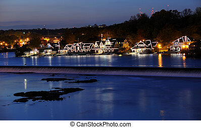Philadelphia Boathouse Row at Twilight