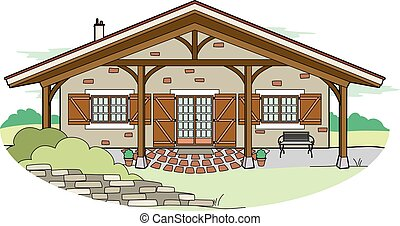 Villa - Vector illustration of a house in the countryside,...