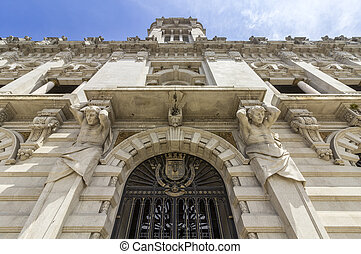 Porto City Hall facade perspective at Avenida dos Aliados. A...