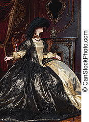 duchess in a palace - Portrait of a beautiful young woman in...