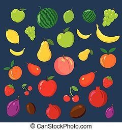 Rainbow of fruits on the blue background