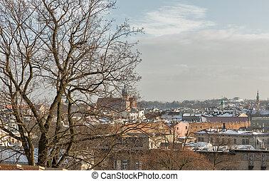 Krakow winter skyline, Poland. - Krakow winter skyline with...