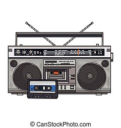 Audio tape recorder, ghetto boom box and audiotape from 90s...