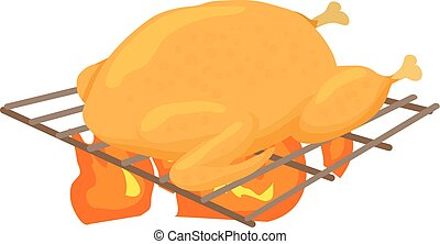 Chiken cooked on a barbecue icon, cartoon style - Chiken...