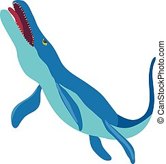Underwater dinosaur car icon, cartoon style - Underwater...