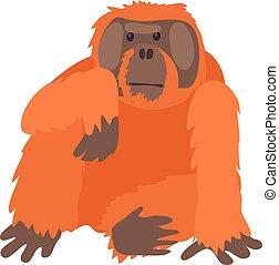 Orangutan icon, cartoon style - Orangutan icon. Cartoon...