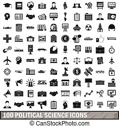 100 political science icons set, simple style - 100...