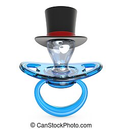 Blue baby pacifier with gentleman hat Baby BOY symbol 3D...