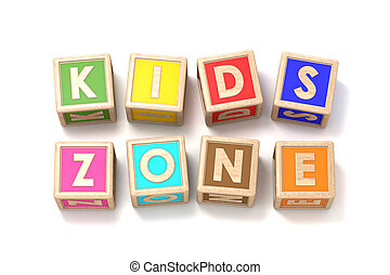 Word KIDS ZONE made of wooden blocks toy 3D render...