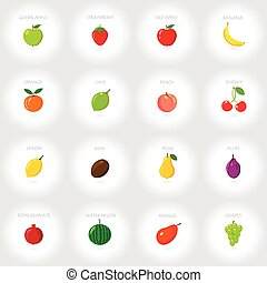 Set of cartoon icons. Fresh fruits. Abstract background. Vector illustration.